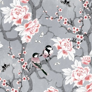 Chinoiserie birds in grey large scale