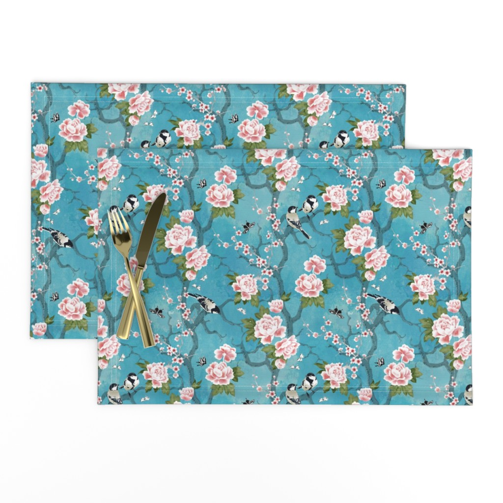 Lamona Cloth Placemats featuring Chinoiserie birds small by adenaj
