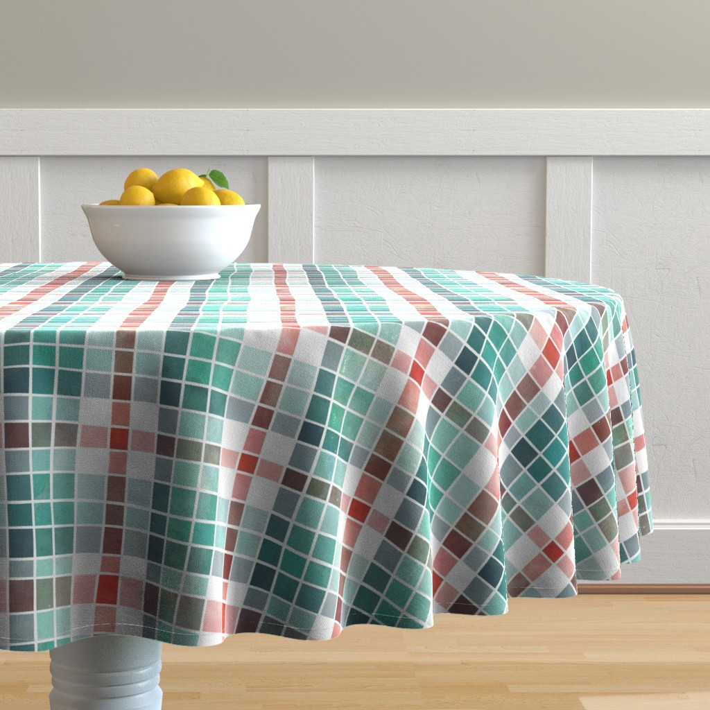 Malay Round Tablecloth featuring Christmas mix watercolour plaid by adenaj