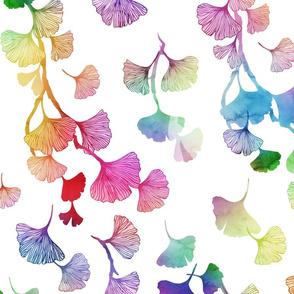 Ginkgo leaves rainbow
