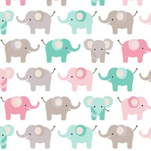 Happy elephants - pink and mint