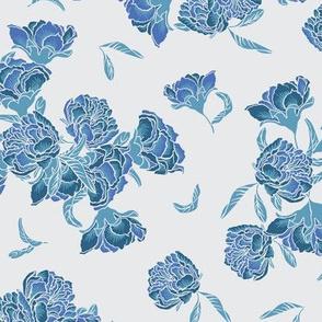 Blue chinoiserie pomegrenate flower