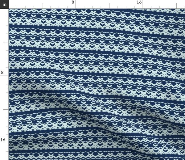 Fabric By The Yard Chevron Arrow Pattern Modern Blue Wavy Stripes