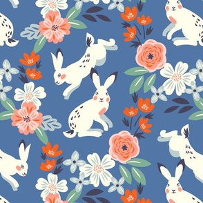 White rabbits with roses