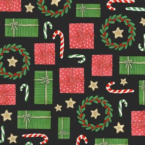 gift boxes, candy canes and christmas wreathes