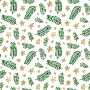 pine branches with stars