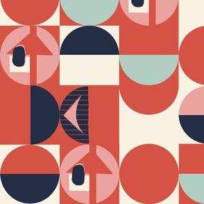 retro geometric // red modernism dots retro colors