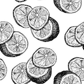Lemon Black and White Sketch Repeat