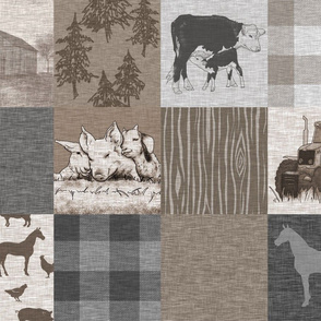 Old Farm Quilt 12sq - Rustic Soft Brown And Grey