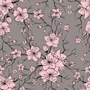 Sakura branches seamless pattern