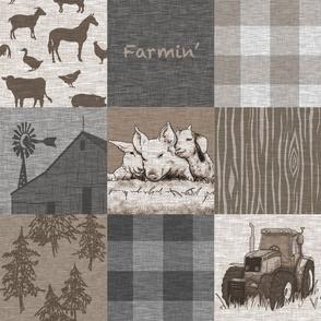 Farmin - 9sq Rustic Soft Brown And grey - farm animal quilt
