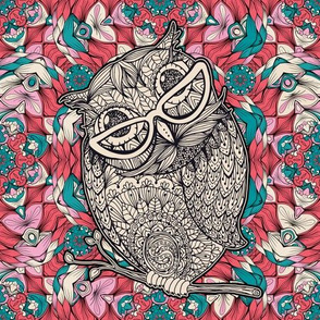 Smart Owls in Glasses with Kaleidoscope