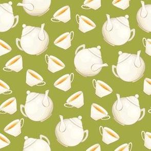 Porcelain Teapot and Tea cup, Green Teatime