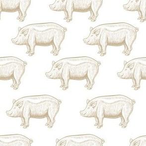 Pig engraving seamless pattern.