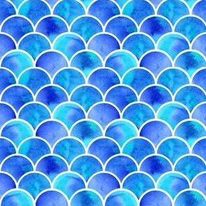 watercolor blue mermaid scales