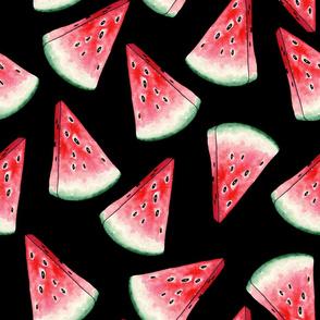 Red Watermelon Slices Seamless Pattern on Black Background.