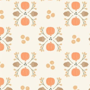 Pastel Orange + Brown Acorn, Cranberry, & Pumpkin Fall Foliage Damask // Sing for Your Supper Modern Farmhouse Collection // Autumn Edition