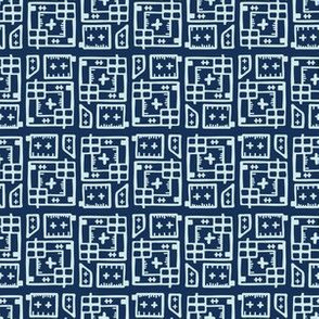 Indigo Blue Japanese Style Stitch Lines Sashiko Grid