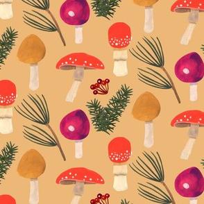 Holiday Mushrooms - Ochre