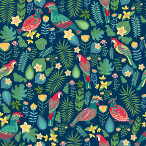 Bright parrots, tropical flowers and leaves.