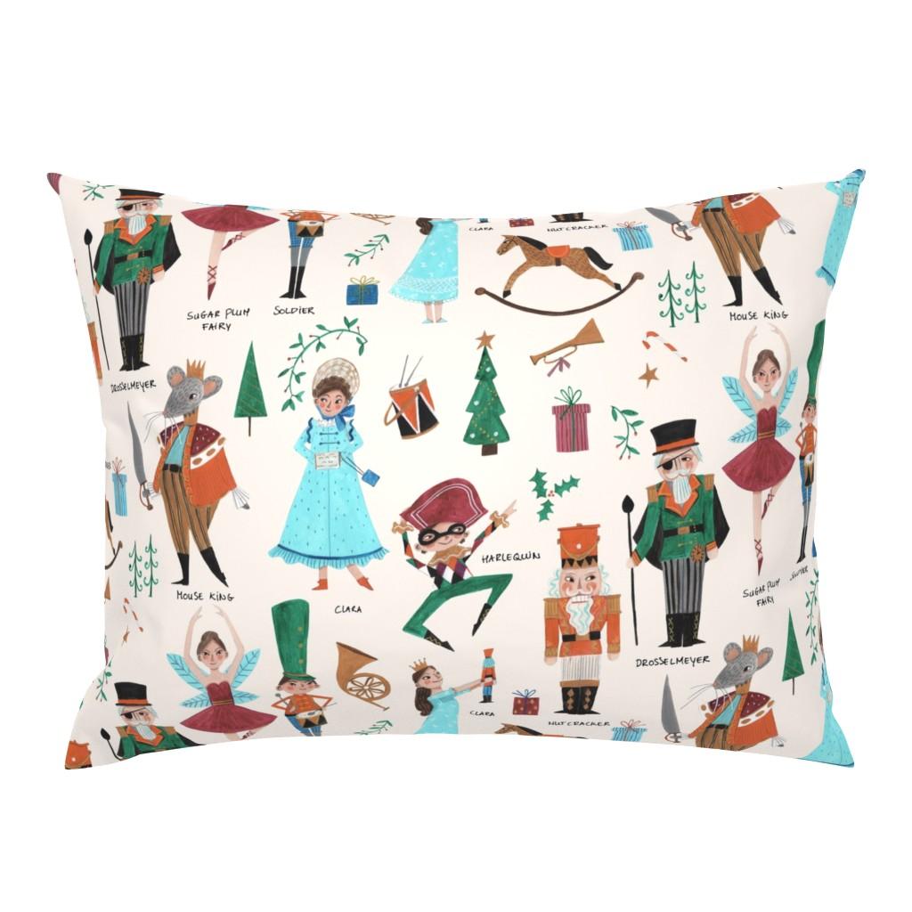 Campine Pillow Sham featuring Christmas Nutcracker // red & green little girls fabric by caroline_bonne_muller