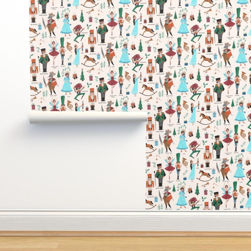 Isobar Durable Wallpaper featuring Christmas Nutcracker // red & green little girls fabric by caroline_bonne_muller