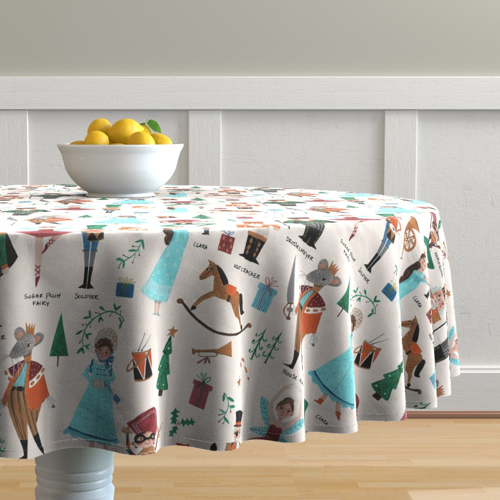 Malay Round Tablecloth featuring Christmas Nutcracker // red & green little girls fabric by caroline_bonne_muller