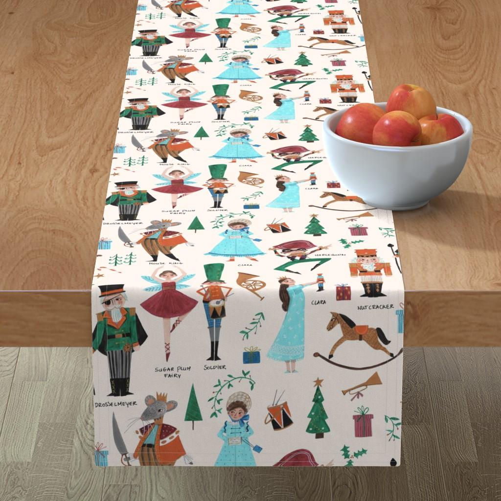 Minorca Table Runner featuring Christmas Nutcracker // red & green little girls fabric by caroline_bonne_muller