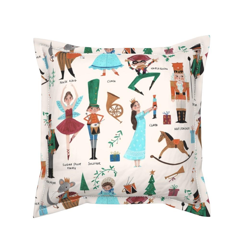 Serama Throw Pillow featuring Christmas Nutcracker // red & green little girls fabric by caroline_bonne_muller