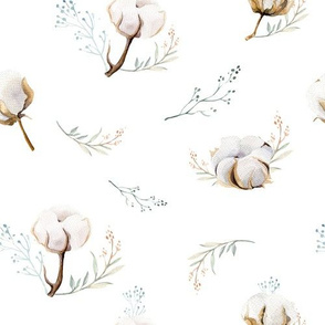 Watercolor floral pattern with cotton branches.