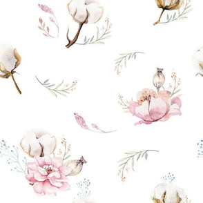 Watercolor floral pattern with flowers and cotton branches.
