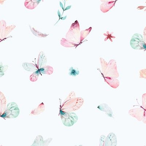 Watercolor pattern with flowers and butterflies