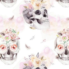 Watercolor pattern with human skull and roses