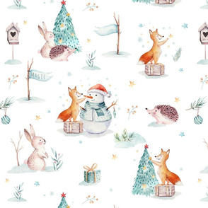 Watercolor winter holiday forest animals:  baby hedgehog, fox, bunny and snowman