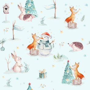 Watercolor magic holiday forest animals:  baby hedgehog, fox, bunny and snowman