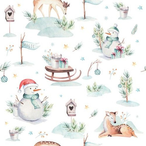 Watercolor new year holidays forest animals: baby deer, snowman and sled