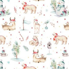 Watercolor winter holiday forest animals: baby fox, hedgehog,  rabbit and snowman