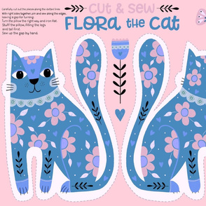 Flora the Cat - cut and sew (blue)