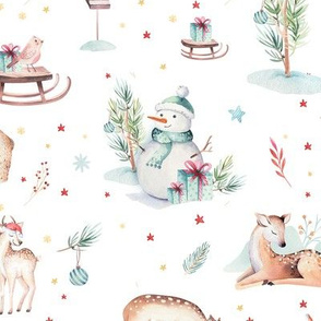 Watercolor magic holiday forest animals: baby deer,bear and snowman