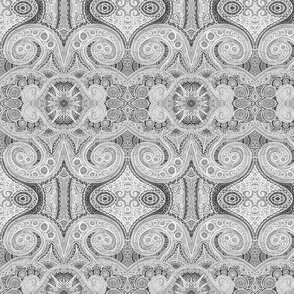 Spirals and Shapes (Inverse Grayscale)