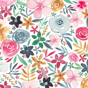 Pink, navy and yellow floral