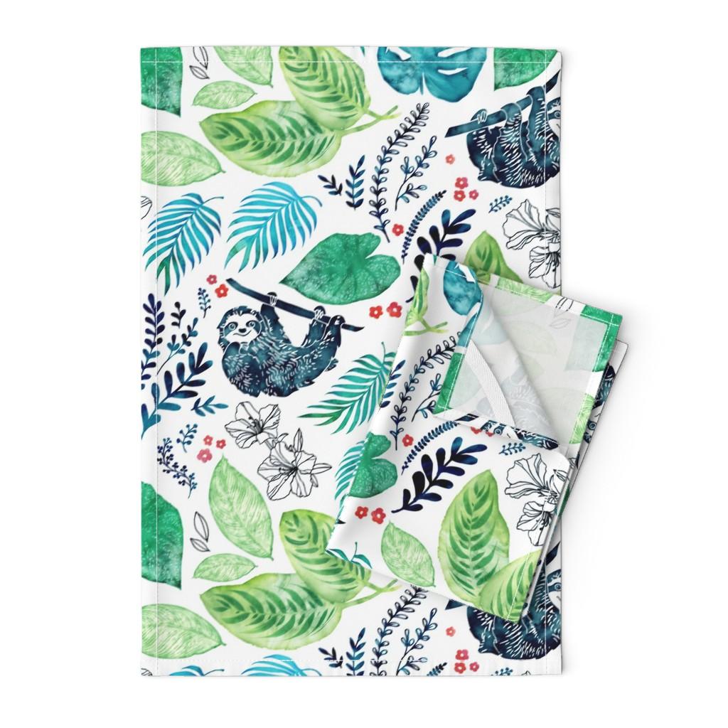 Orpington Tea Towels featuring Sloth Jungle by adenaj