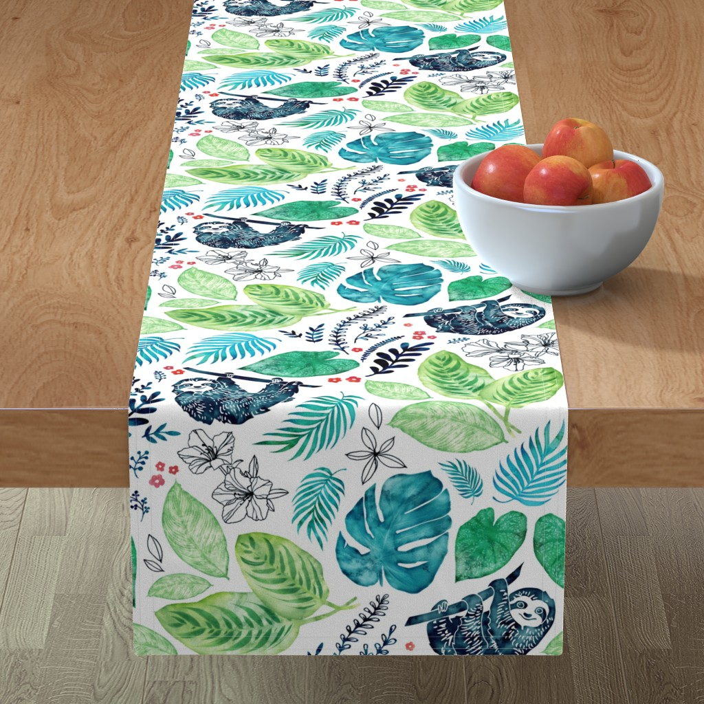Minorca Table Runner featuring Sloth Jungle by adenaj
