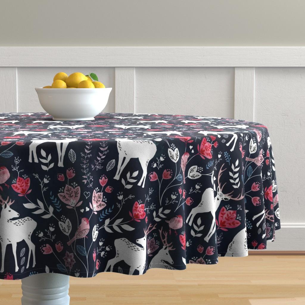 Malay Round Tablecloth featuring Scandinavian deer by adenaj