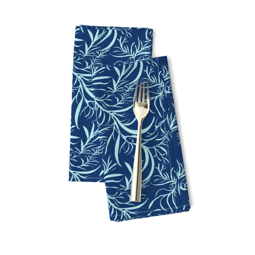 Amarela Dinner Napkins featuring Feathery leaves of China Blue on Deep Indigo - Large Scale by rhondadesigns