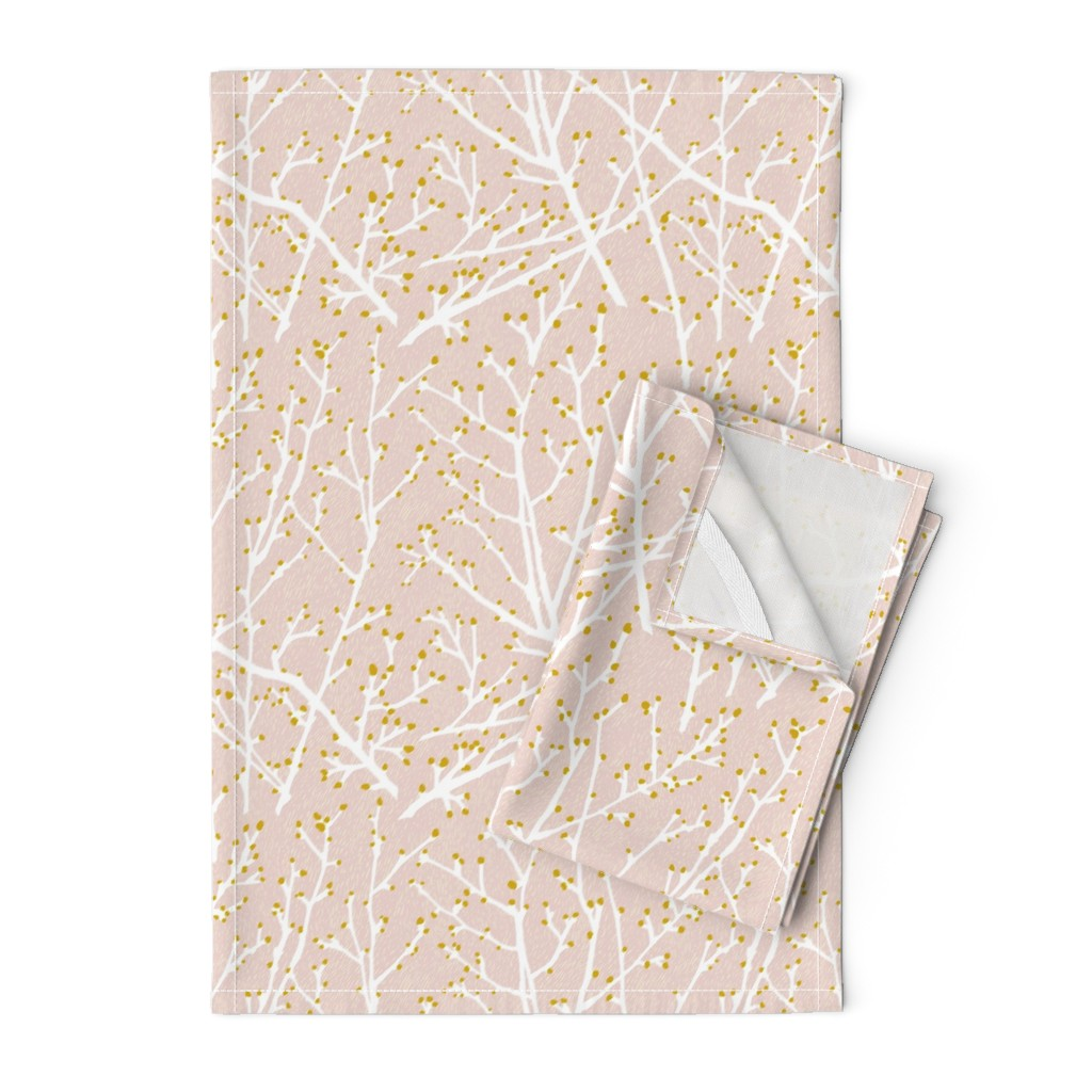 Orpington Tea Towels featuring branchy - blush-white-gold by cinneworthington