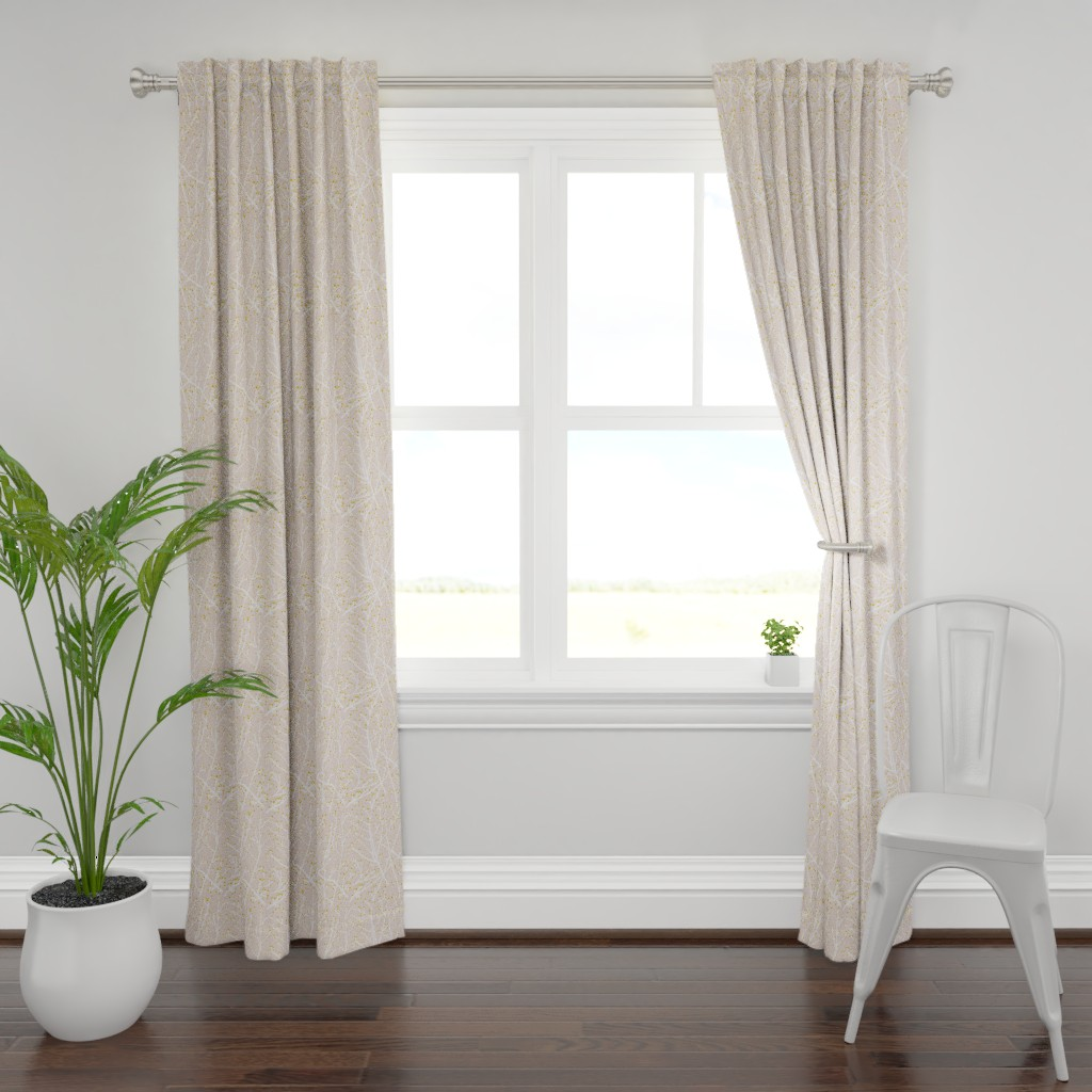 Plymouth Curtain Panel featuring branchy - blush-white-gold by cinneworthington