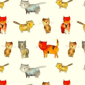 cats on cream • watercolor pattern for kids