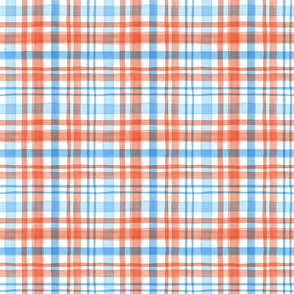 Watercolor plaid in orange and light blue