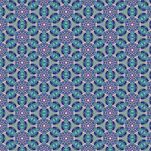 african flower motif blue